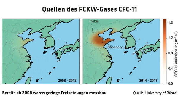 1235 Quellen des FCKW-Gases CFC-11 / Quelle: University of Bristol